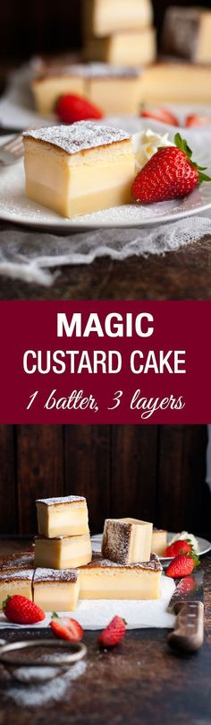 Magic Custard Cake - one simple batter transforms into a 3 layered cake! A fudgey base, soft custard middle and fluffy sponge topping.