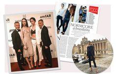 Dean e Dan, da Dsquared2, no amfAR de 2016, ao lado, as gêmeas na Vogue, em outubro de 2014 e Isabella no desfile cruise 2017 da Dior, na Inglaterra. (Foto: Reprodução Vogue Brasil/Outubro de 2014 e Reprodução/ Instagram)