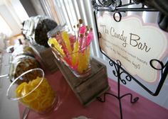 I LOVE candy bars and I used this one as inspiration for the one I did for my 10 year anniv party, everyone loved it!