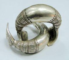 vintage antique tribal old silver anklet bracelet bangle pair - 6686. $1,430.00, via Etsy.