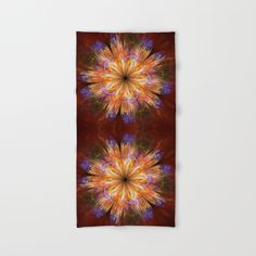 An artistic digitally created painterly fantasy flower in summer colors. It looks like gouache art. The main colors are dark red, yellow, blue, orange...