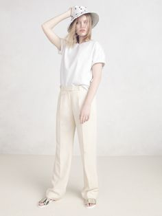 J.Crew Collection flutter-sleeve top, Collection double-knit tee, Collection wide-leg trouser and embellished bucket hat.