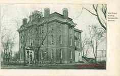 Harrisonville, Missouri, High School Building, Vintage Postcard, historic photo