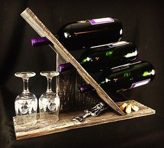 Repurposed rustic wood counter top wine rack. Holds three bottles. $40 Diy Projects To Try, Home Projects, Barn Wood, Rustic Wood, Drink Holder, Wood Countertops, Wine Racks, Wine Storage, Counter Top