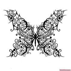 Open Wings Butterfly Tattoo Design