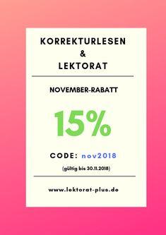 15% Rabatt auf Korrekturlesen und Lektorat, gültig bis 30.11.2018