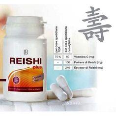 Reishi Plus - Il fungo della lunga Vita; In Asia è conosciuto da millenni ed è un componente essenziale della cultura alimentare e medica orientale. Le sue proprietà sono conosciute anche in occidente. Apporta il 75% del fabbisogno giornaliero di Vitamina C.  30 Capsule/15,2 GR  Dose Giornaliera Consigliata: 1 capsula al giorno