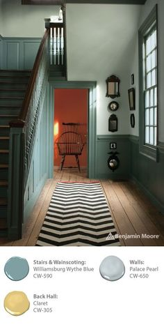 Take your style cues from classic American designs featured throughout the Colonial Williamsburg historic area. Benjamin Moore's WILLIAMSBURG Collection contains paint colors based on original pigments developed more than 250 years ago. Flip the script on your entryway with wainscoting in 'Williamsburg Wythe Blue CW-590'.