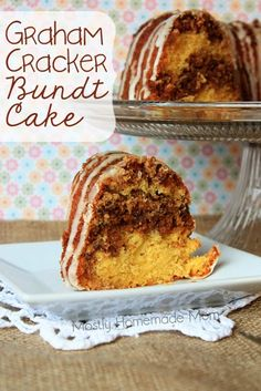 15.25 oz package yellow cake mix  1 cup water  3 eggs  1/4 cup oil   1 1/2 cups graham cracker crumbs  3/4 cup chopped pecans   3/4 cup brown sugar   10 tablespoons plus 2 teaspoons butter, melted   1 teaspoon cinnamon Simple Icing:  1 cup confectioner's sugar  1 teaspoon vanilla  2 tablespoons milk (plus more if needed)  350 -35 to 40 minutes