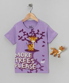 Take a look at this Lavender Gyro Giraffe Tee Set - Toddler & Girls by Planet Buddeez on #zulily today!