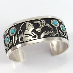 Native Woman Cuff by Navajo artists Rita & Philbert Begay, mother/son combo, widow & son of the late Richard S Begay Fantasy Jewelry, Jewelry Art, Turquoise Jewelry, Turquoise Cuff, Silver Jewellery Indian, American Indian Jewelry, Southwest Jewelry, Sterling Silver Cuff Bracelet, Color Azul