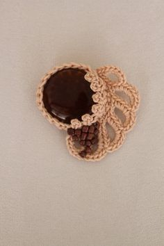 Beige Brown Freeform Crochet Brooch with Glass by lucylev