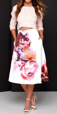 floral skirt women fashion outfit clothing style apparel @roressclothes closet ideas