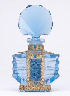 CZECH Perfume bottle in blue crystal with enameled and jeweled metalwork, with dauber stub, 1920s. Stenciled oval MADE IN CZECHOSLOVAKIA