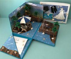 Eine Explosionsbox als Geschenk für eine Hochzeit handgemachtes Unikat Beach w