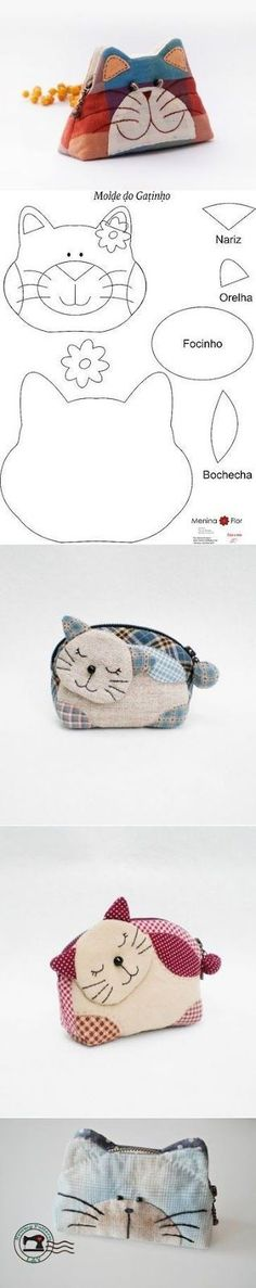 New Ideas Cats Ideas Children Felt Crafts, Fabric Crafts, Sewing Crafts, Sewing Projects, Patchwork Bags, Quilted Bag, Purse Patterns, Sewing Patterns, Fabric Bags