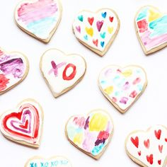 DIY watercolor heart cookies for Valentines Day or any time of year by The Sweet Escape