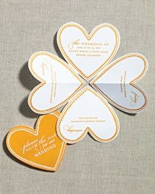 Folded heart save the dates by Martha Stewart