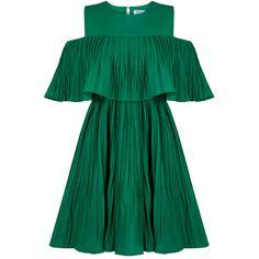 Vera Green Cold Shoulder Dress (£65) ❤ liked on Polyvore featuring dresses, cut-out shoulder dresses, green color dress, green dress, formal wear dresses and formal dresses