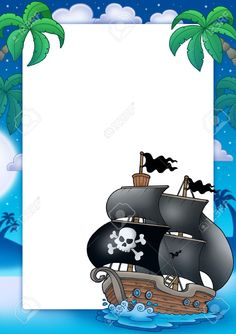 Marco y barco pirata. Con espacio para rellenar, modificar.