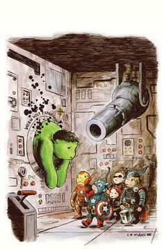 Check out this great series of awesomely cute geek art from Charles Paul Wilson III. The Art features The Avengers in the art style of Winnie the Pooh.
