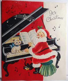 Santa plays piano