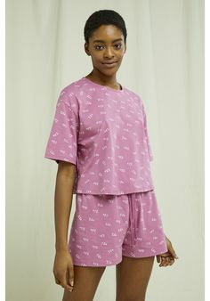 Lightweight, organic and breathable nightwear cropped tee. This comfortable pyjama collection is printed with an intricate ZZZ design and made from the softest 100% GOTS certified organic cotton in violet shade –perfect for lounging or sleeping. Made by People Tree Fair Trade producer partner Assisi. Crop Tee, Fair Trade, Nightwear, Organic Cotton, Pajamas, Rompers, Printed, Tees, People