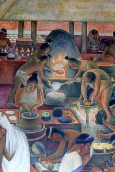 Diego Rivera mural in the National Palace, Mexico City  		Metalworkers - part of a mural depicting Zapotec and Mixtec culture in Oaxaca in pre-hispanic times.