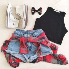 black crop top, flannel, white keds, denim high waist shortws