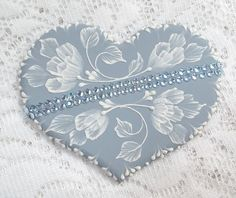 Hand Painted Soft Blue MUD Cookie with Rhinestone by TheMUDLady, $25.00