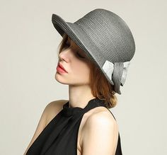 Elegant bow sun hat for lady crimping straw hats