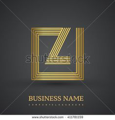 Letter Z logo in a square. Gold colored. Vector design template elements  for company identity. - stock vector