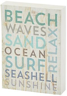 """Beach Waves Sand Wood Plank Sign This charming beach washed look is colorful printed wood that says: """"Beach Waves Sand Ocean Surf Seashell Sunshine Relax""""Measurements: approximately x Pallet Wall Decor, Beach Wall Decor, Bathroom Wall Decor, Beach House Decor, Bathroom Ideas, Vintage Beach Signs, Beach Signs Wooden, Beach Wood, Box Signs"""