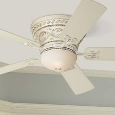 Casa Vieja French Hugger Ceiling Fan with Light LED Dimmable Remote Rubbed White Frosted Glass for Living Room Kitchen Bedroom Vintage Ceiling Fans, Hugger Ceiling Fan, Flush Mount Ceiling Fan, White Ceiling Fan, Best Ceiling Fans, Fan Lamp, Frosted Glass, Decoration, Bulb