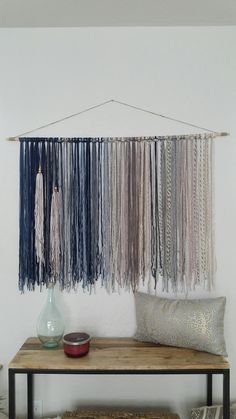 Bohemian Yarn Tapestry, Yarn Wall Hanging, Blue, Gray and Beige Yarn Wall Art, Yarn Wall Hanging, Wall Hangings, Diy Wall, Wall Decor, Grey And Beige, Yarn Colors, Weaving, Arts And Crafts