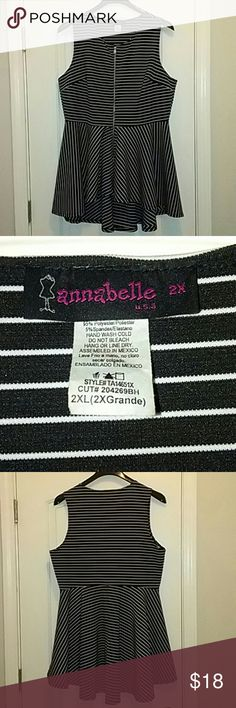 Annabelle Shirt Dress ??? this gorgeous top! It has an asymmetrical hem and black/white pattern in vertical and horizontal stripes throughout. It features a fully functional zip from the bust to the bottom in the front and high scoop in the back. It stops miss thigh on average height woman and looks great with leggings. Hand wash only! Annabelle  Tops