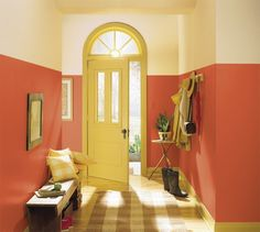 The emberglow color mixed with sunshine to add a little warmth to your entryway.  Splitting colors, as shown, best used in spaces with higher ceilings.