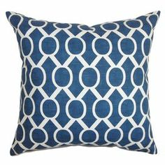 "Striped cotton pillow. Made in the USA.   Product: PillowConstruction Material: Cotton cover and polyester fillColor: NavyFeatures:  Insert includedHidden zipper closureMade in the USA Dimensions: 18"" x 18""Cleaning and Care: Spot clean"