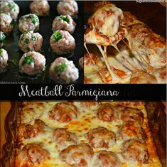 Baked Meatball Parmigiana - With pasta on the bottom! Casserole Recipes, Meat Recipes, Low Carb Recipes, Cooking Recipes, Beef Recepies, Dinner Recipes, Meatloaf Recipes, Pasta Recipes, Holiday Recipes