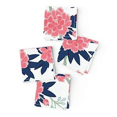 Chinoiserie Vintage Floral Mint Bird Cotton Dinner Napkins by Roostery Set of 2