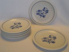 Set of 8 Stoneware Dinner Plates Pfaltzgraff by GandTVintage, $40.00