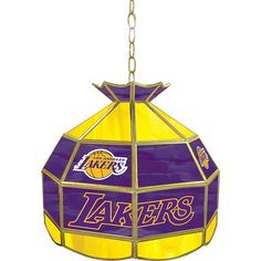 "Los Angeles Lakers 16"" Tiffany-Style Lamp, Multicolor"