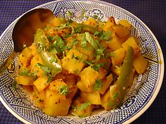 A great side dish, can be a vegetarian main dish also. Has been served at tea time in India as a snack, too! Oil-free, more low-fat cooking with high flavor! :)