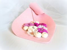 Beaded ornament fabric flower  home decor  pink white  by mapano, $29.00
