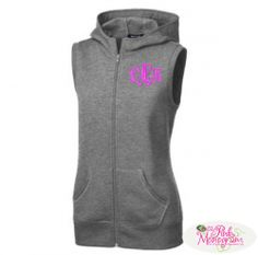 Monogrammed Sleeveless Hooded Fleece Jacket in All Colors  Apparel & Accessories > Clothing > Outerwear > Coats & Jackets > Fleece Jackets