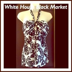 White House Black Market Halter Like New WHBM Halter.......Smoke Free Home.....Top Rated Seller......Can be worn with strap up around neck for a halter, or without for a sexy strapless look. White House Black Market Tops