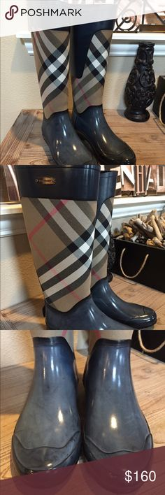 Authentic Burberry Nova Check Rain Boots size 37 Authentic size 37 (US 7) Burberry rainboots. Nova check style.  These are in great condition. The light areas are normal for natural rubber. You can use boot cleaner and shine to keep them shiny.  These fit true to size.  Not new and no box included but will wrap with protection. Very fashionable boots. Ask questions if you have them. Burberry Shoes Winter & Rain Boots