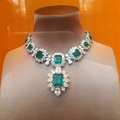 The matchless emerald necklace of Elizabeth Taylor.  Made by Bvlgari, it was a present from Richard Burton.