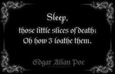 Sleep...slices of death. Edgar Allan Poe (am personally a huge fan of sleep but this was gorgeous)