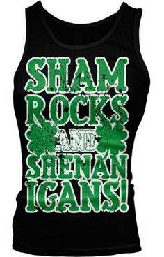 a7490e263c136 Shamrocks and Shenanigans St Patricks Day Four Leaf Clovers Boy Beater Tank  Top in Tops   Blouses